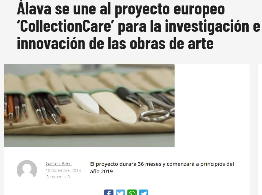 Álava se une al proyecto europeo 'CollectionCare' para la investigación e innovación de las obras de arte